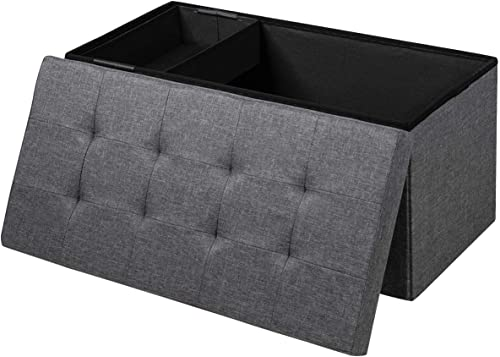 wholesale Giantex high quality Storage high quality Ottoman Footrest 31.5 Inch Fold-able Toy Organizers with Removable Storage Bin, Padded Seat for Living Room, Bedroom, Hallway & Entryway Fabric Shoe Bench (Gray) outlet sale