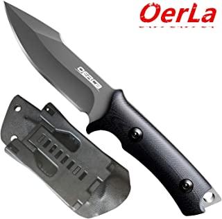 Oerla TAC OLF-1009 Fixed Blade Outdoor Duty Knife 420HC Stainless Steel Field Knife Camping Knife with G10 Handle Waist Clip EDC Kydex Sheath (Black)