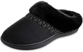 isotoner Women's Microsuede Sage Faux Fur Hoodback Slippers (Black, 7.5-8)