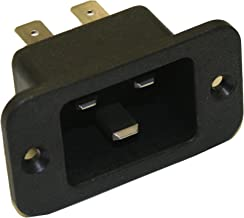 Interpower 83030400 IEC 60320 C20 Power Inlet with Quick Disconnects, IEC 60320 C20 Socket Type, Black, 16A/20A Rating, 250VAC Rating