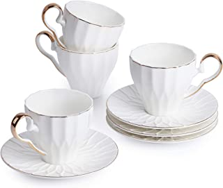 BTäT- Tea Cups and Saucers, Set of 4 (6 oz) with Gold Trim and Gift Box, Cappuccino Cups, Coffee Cups, White Tea Cup Set, British Coffee Cups, Porcelain Tea Set, Latte Cups, Espresso Mug, White Cups