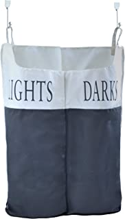 Space Saving Lights and Darks Hanging Laundry Hamper Bag - Two Compartments - Free Door Hooks - Open Top Design to Hold More Laundry Than Other Type Bags - Tested to be Strong and Durable