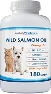 Salmon Oil for Dogs and Cats - Premium Omega 3 Supplement for Healthy Skin and Coat - Wild Caught Alaskan Fish Oil - Easy to Swallow 500mg Capsules Best for Small Dogs - No Fishy Smell or Mess