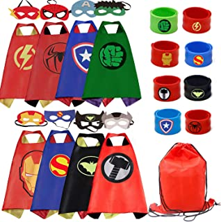 RioRand Kids Costumes 8PCS Superhero Capes with Masks and Slap Bracelets for Boys Dress Up Party Favors