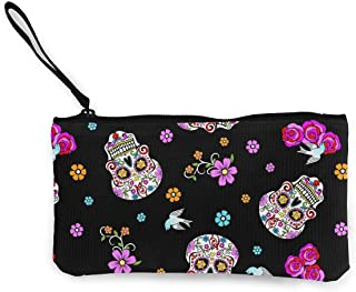 XUJ YOGA Pink Rose Flower Sugar Skull Black Canvas Cash Coin Purse Make Up Bag Small Cosmetic Carry Pouch Cellphone Bag with Handle for Women Girls