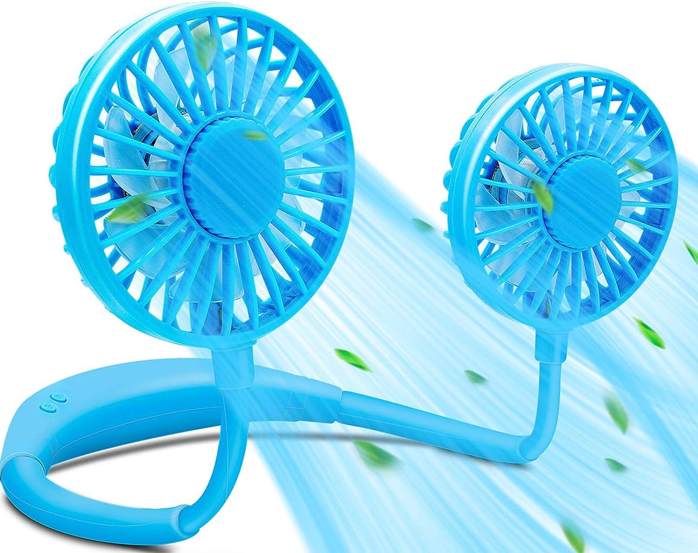 USB Neckband Fan Rechargeable Hand Free Personal Fan with Dual Wind Head Fan Wearable Fan for Camping Traveling… (Blue)