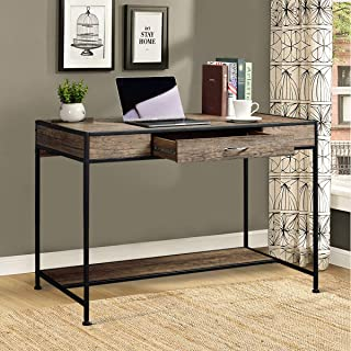 Aingoo Large Writing Desk with Drawer 43x22 Rustic Computer Desk Slim Metal MDF Wood Grain Workstation for Brown Farmhouse