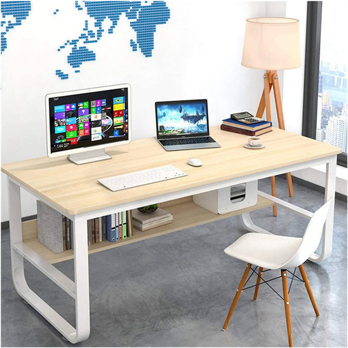 """BOJU Student Computer Gaming Writing Desk Table Workstation Walnut for Modern Home Office Meeting Room Large Simple Wood Metal Frame Study Bedroom Dormitory Apartment 47/"""""""