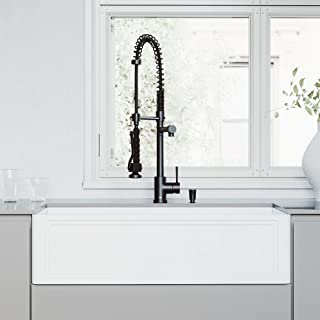 VIGO 36-Inch Single Bowl Matte StoneTM Crown Reversible Apron Front Farmhouse Kitchen Sink and Zurich Pull-Down Spray Kitchen Faucet and Soap Dispenser Set in Matte Black