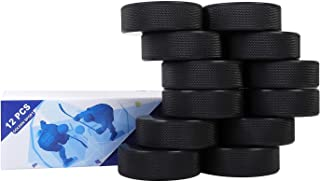 "Golden Sport Ice Hockey Pucks, 12pcs, Official Regulation, for Practicing and Classic Training, Diameter 3"", Thickness 1"", 6oz, Black"