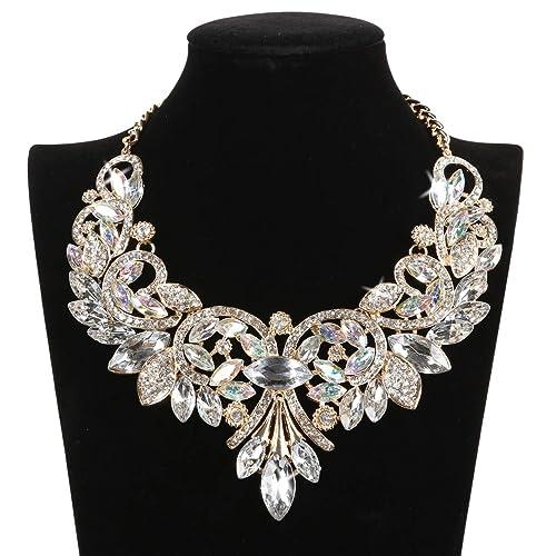3dcb592ef64bb2 HairPhocas Womens Colorful Rhinestone Crystal Queen Costume Jewelry Bib  Statement Choker Necklace Birthday Wedding Valentine's day