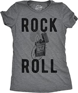 Womens Rock and Roll Lighter Tshirt Funny Music Concert Tee for Ladies