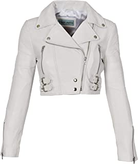 HOL Ladies Cropped Short Length Leather Jacket Slim Fit Biker Style Demi White