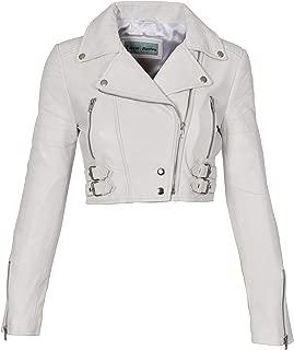 HOL Ladies Cropped Short Length Leather Jacket Slim Fit Biker Style Demi White