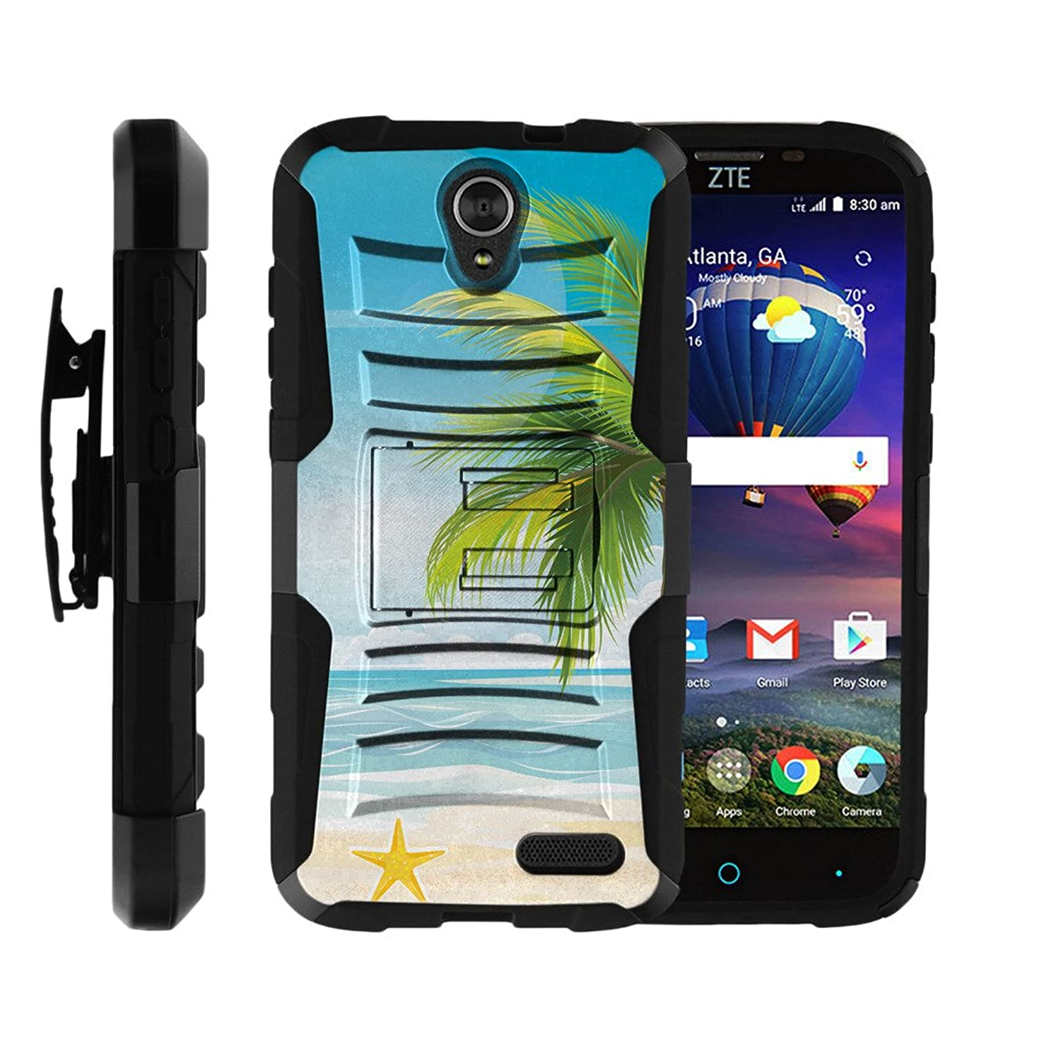 TurtleArmor | Compatible for ZTE Grand X 3 Case | ZMax Champ | Warp 7 [Hyper Shock] Hybrid Rugged Armor Kickstand Hard Cover Holster Belt Clip Silicone Beach - Beach Shore