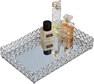FilterEra Crystal Cosmetic Tray,Tray Mirror Decorative,Vanity Tray Jewelry Perfume Organizer Makeup Tray Used for Dressing Table Bathroom Wedding Decoration and Other Decoration or Storage 12