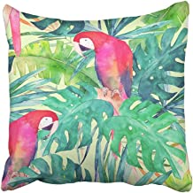 Emvency Decorative Throw Pillow Covers Cases Green Flower Summer Watercolor Parrot Palm Leaves Colorful Wild Abstract Animal Ara Beautiful 16x16 inches Pillowcases Case Cover Cushion Two Sided