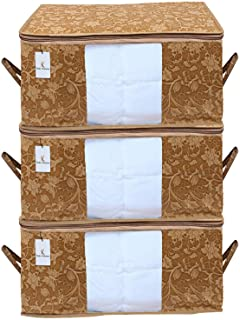 Kuber Industries Underbed Storage Bag, Storage Organiser, Blanket Cover Set of 3 - Beige, Extra Large Size, CTKUBM11