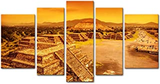 Wall Art Decor Poster Painting On Canvas Print Pictures 5 Pieces Pyramids Of The Sun Moon Avenue Of Dead Ruins Of Aztec Civilization Mexico Architecture Ruin Framed Picture For Home Decoration Artwork