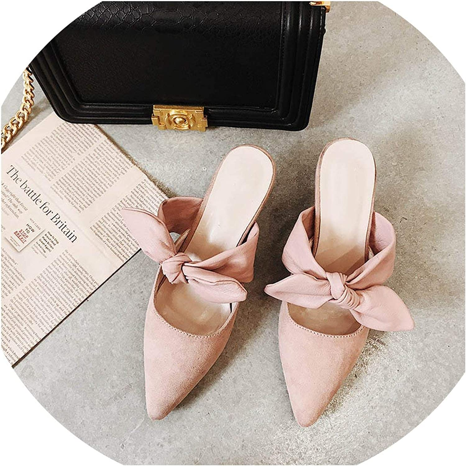 I Need-You Mules Women 5cm Platform Pointed Toe Bowknot Slippers shoes Comfortable Casual Female shoes Woman Flock women