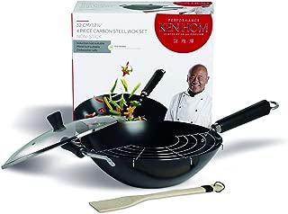 KEN HOM Nonstick Carbon Steel Wok Set with Utensils and Glass Lid - Flat Bottom Asian Stir Fry Pan with Helper Handle - 12.5