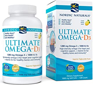 Nordic Naturals Ultimate Omega-D3, Lemon Flavor - 1280 mg Omega-3 + 1000 IU Vitamin D3-120 Soft Gels - Omega-3 Fish Oil - ...