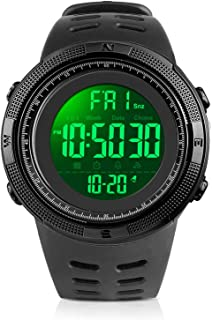 Men's Digital Watch, Led Military 50M Waterproof Sports Watches for Men, Electronic Hand Wrist Watch with Alarm Stopwatch Dual Time Zone Count Down EL Backlight Calendar Date for Men - Black