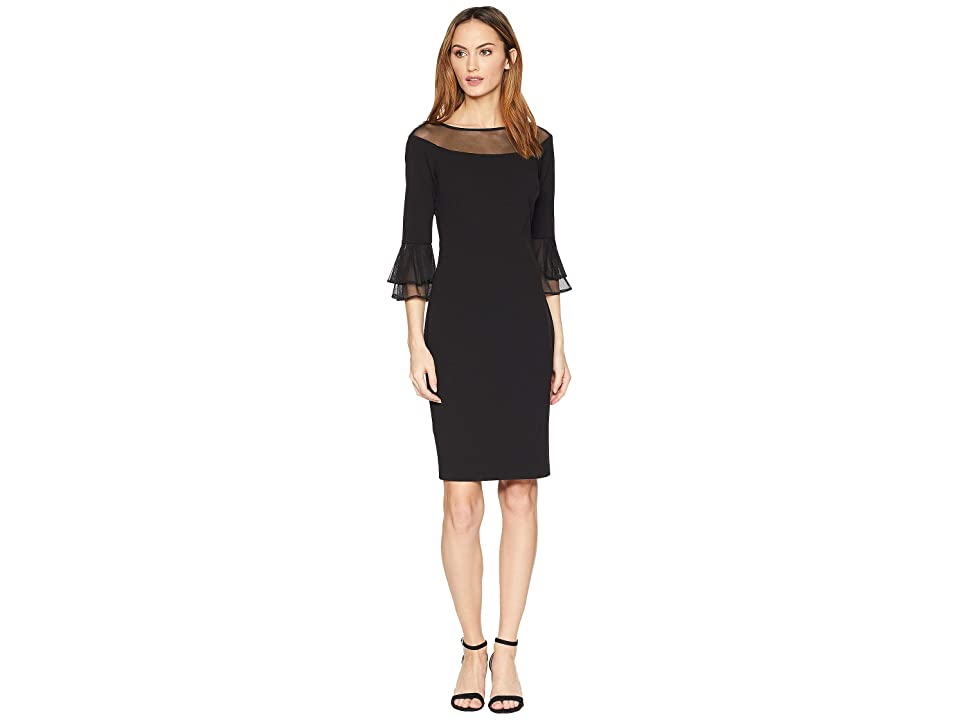 Calvin Klein Sheath Dress w/ Illusion at Neck and Sleeve (Black) Women