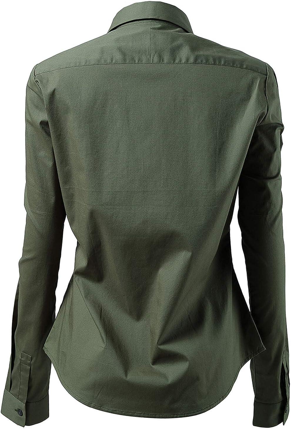 Basic Long//Half Sleeve Slim Fit Casual Button Up Shirt Stretch Formal Shirts Harrms Womens Dress Shirts