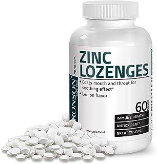Bronson Zinc Lozenges Antioxidant & Immune Support Supplement Lemon Flavored, 60 Chewable Tablets
