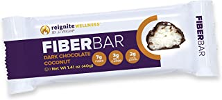 JJ Virgin Dark Chocolate Coconut Fiber Bars - Dairy Free & Gluten Free High-Fiber Supplement Bar - Supports Diet & Weight ...