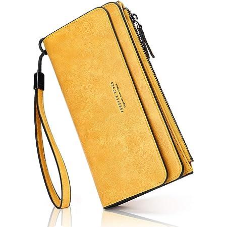 PU-Leder Damen-geldbörse Lang Portmonee Große Kapazität Geldbeutel Damen RFID-Schutz Elegant Clutch für Frauen (Handschlaufe) (Yellow)
