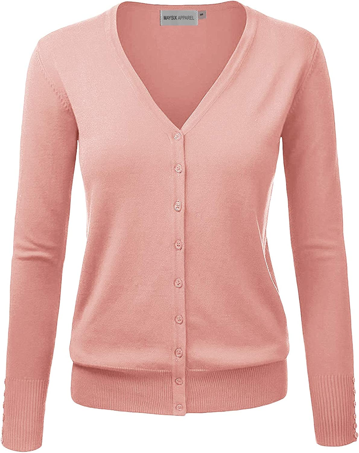 MAYSIX APPAREL Long Sleeve Button Down V-Neck Knit Sweater Cardigan for Women (S-3X 7size)