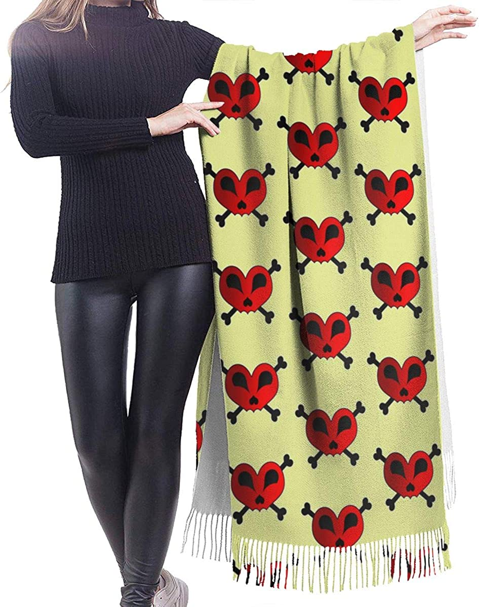 Heart Skull And Crossbones Cashmere Shawl Wrap Scarf Large Warm Scarf For Women