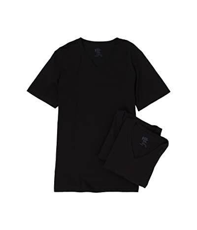 Jockey Cotton V-Neck T-Shirt 3-Pack (Black) Men