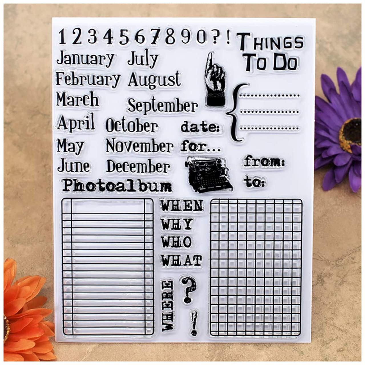 Kwan Crafts Month Numbers Things to do Clear Stamps for Card Making Decoration and DIY Scrapbooking