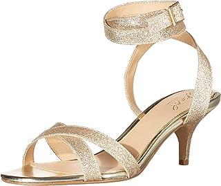 Jewel Badgley Mischka Women's Newton Heeled Sandal, Gold Glitter, 6 Medium US