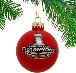 FOCO NHL Chicago Blackhawks 2015 Stanley Cup Champions Glass Ball Ornament