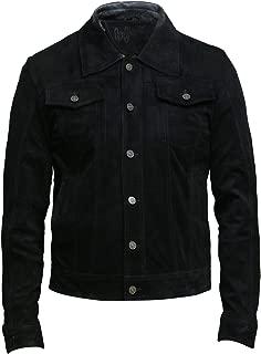 Mens Genuine Leather Biker Jacket Goat Suede Denim Jeans Shirt Style