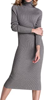 Women's Turtleneck Ribbed Elbow Long Sleeve Knit Sweater Dress