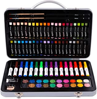 Mont Marte Studio Essentials Mixed Media Art Set 85 Piece. Includes Watercolour Paints, Oil Pastels, Markers, Pencils and More with a Portable Metal Case. Great for Drawing, Sketching and Painting.