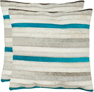 Safavieh Pillow Collection Throw Pillows, 22 by 22-Inch, Quinn Grey, Set of 2