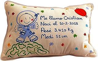 Cojín personalizado de bebe natalicio 40 x 25 cm. Astronauta