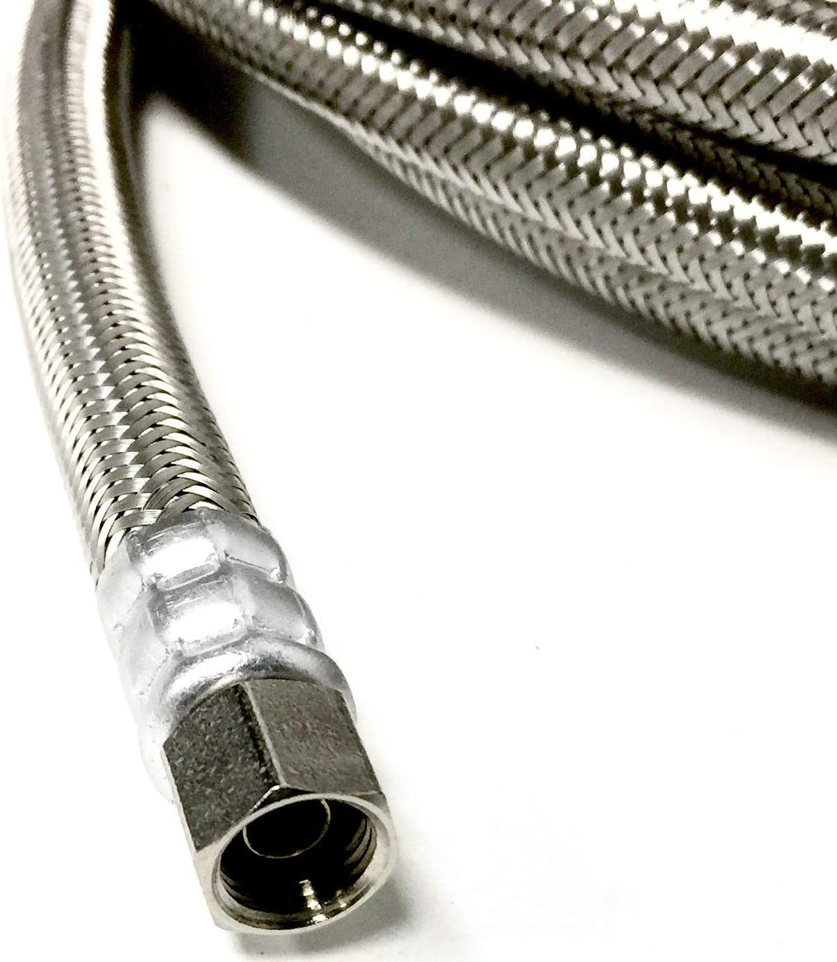 Shark Industrial 25 FT Stainless Steel Braided Ice Maker Hose with 1/4 Comp by 1/4 Comp Connection