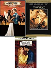Love Pack Sensual Romance Classics - Chocolat with Johnny Depp + Romeo & Juliet Leonardo DiCaprio Music Edition & Shakespeare in Love Gwyneth Paltrow Triple Feature 3 DVD