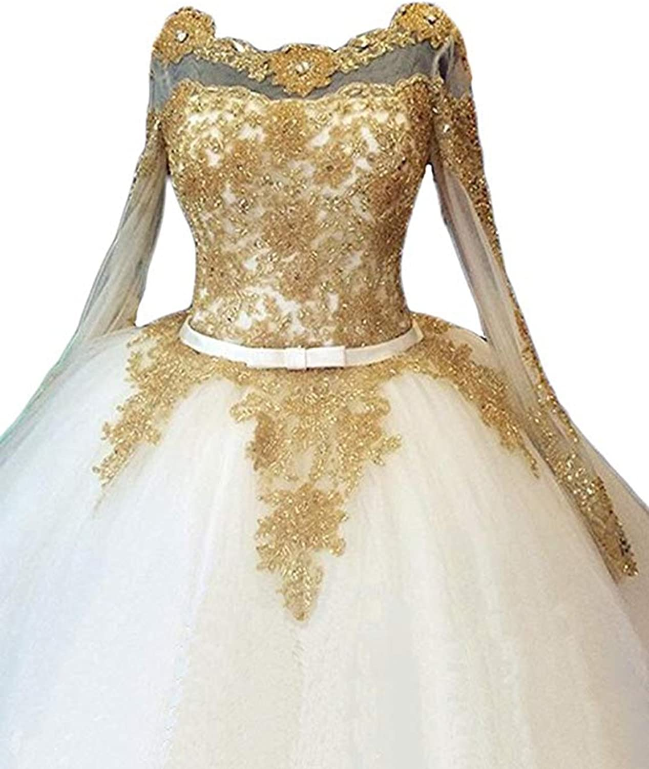 Alilith.Z Sexy Illusion Long Sleeve Bridal Gowns gold Appliques Beaded Wedding Dresses for Bride 2018 Ball Gown