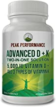 Advanced Vitamin D 5000 IU with All 3 Types of Vitamin K by Peak Performance. Vitamin D3 and Vitamin K2, K1, MK-7 (MK7), MK4 Supplement. 60 Small and Easy to Swallow Vegetable Pills (5000 IU)