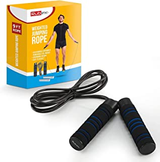 RUBEX Weighted Jump Rope with Non-Slip Memory Foam Handles - for Crossfit, Boxing, Strength and Endurance, Exercise Fitnes...