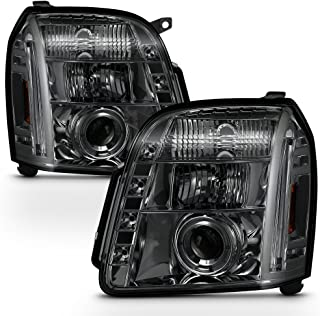 For GMC Yukon Denali SUV Smoked Smoke Dual Halo LED Projector Headlights Front Lamps Replacement Pair