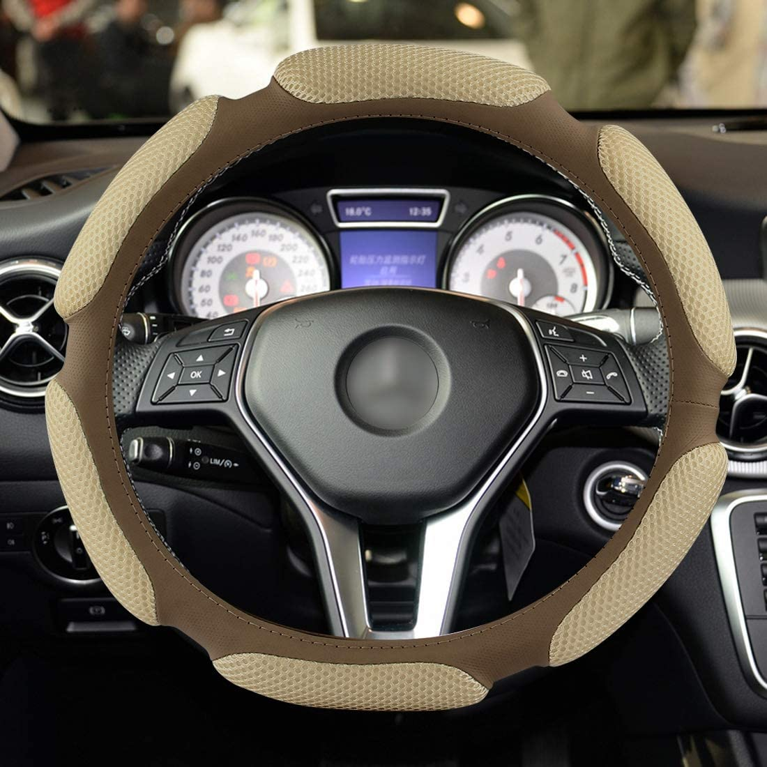 timemall Steering Wheel Accessories Regular discount Style Slip-Resis Sandwich gift 3D